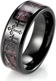 Men's 8mm Plated Black Titanium Wedding Bands 3 Crosses and Camouflage Inlaid Christian Ring