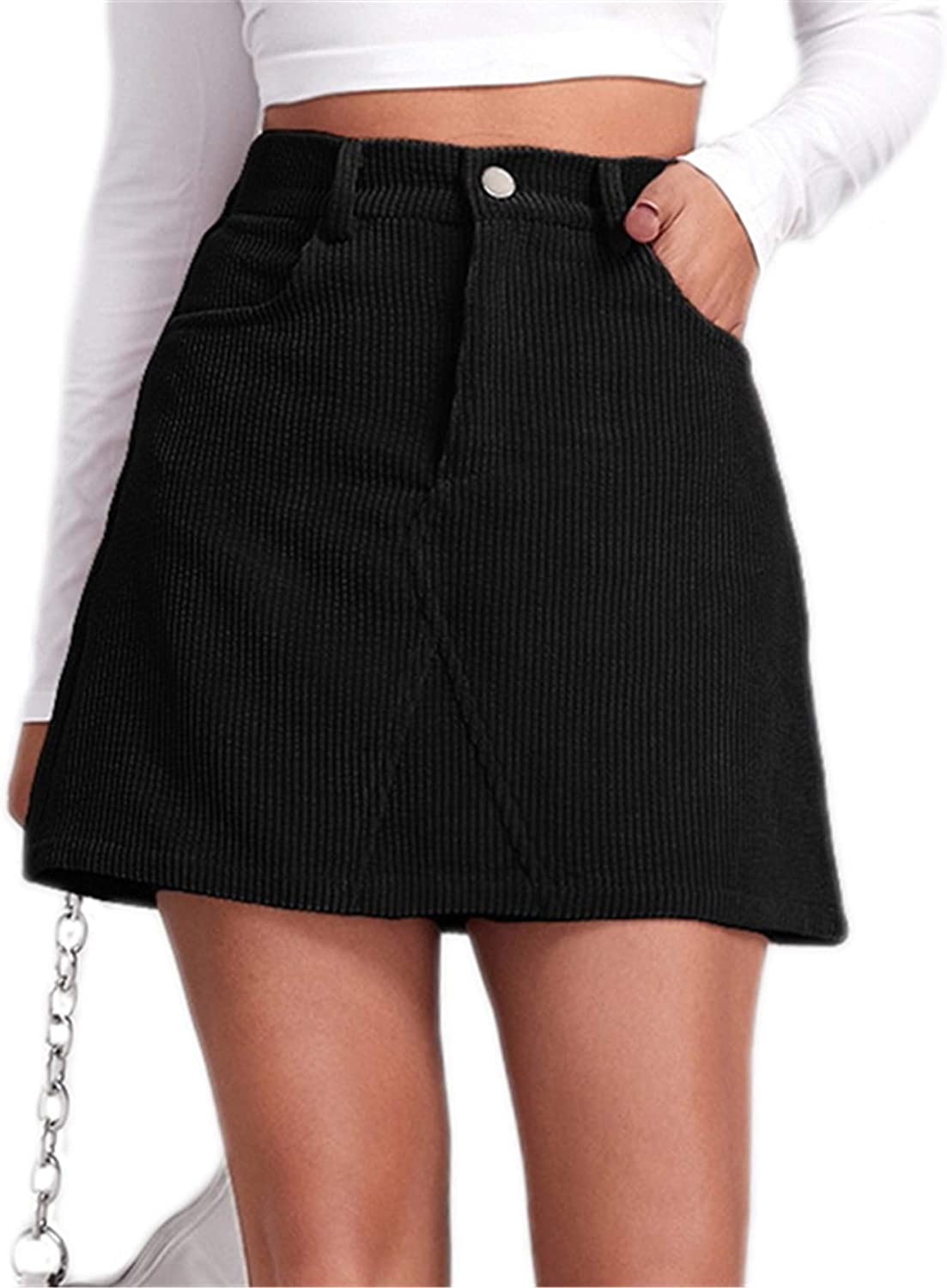 SOLY HUX Women's Casual High Waist A Line Corduroy Mini Skirt with Pocket