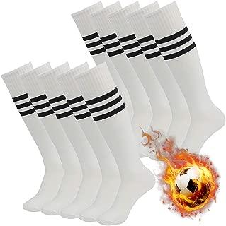 saillsen Team Soccer Socks Men & Women Knee High Stripe Football Socks 10 Pairs