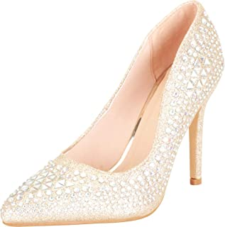 Cambridge Select Women's Pointed Toe Crystal Rhinestone Slip-On High Heel Pump