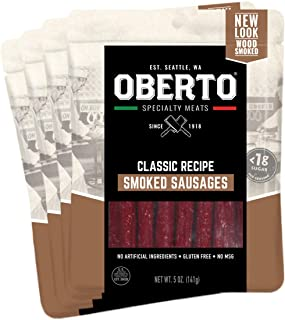 Oberto Specialty Meats Classic Recipe Smoked Sausages, 5 Ounce (Pack of 4)