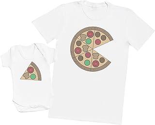 Zarlivia Clothing Pizza and Pizza Slice - Passende Vater Baby Geschenkset - Herren T-Shirt & Baby Strampler/Baby Body