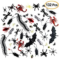 Kuuqa 132 Piezas Plástico Insectos realistas Broma Novedad Insectos Insectos Falsas cucarachas Arañas Escorpiones Ratas Geckos Ciempiés Moscas Murciélagos para Halloween