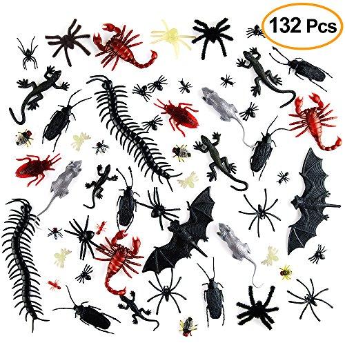 Kuuqa 132 Stücke Kunststoff Realistische Bugs Insekten Kakerlaken Spinnen Scorpions Ratten Geckoes Hundertfüßer Fliegen Fledermäuse für Halloween Gruselige Dekorationen Lieferungen