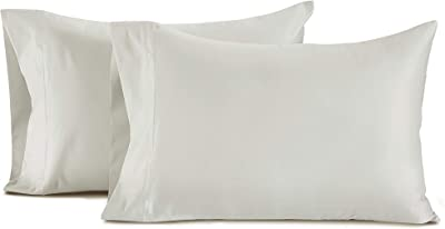 ISABELLA CROMWELL 100% Pima Cotton Set of 2 King Pillowcases 500 Thread Count Solid Pure Sateen Weave Long Staple Ultra Soft Hotel Comfort Bed Bedding (King Size, Celadon)