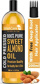 WishCare® Pure Cold Pressed Sweet Almond Oil for Hair Growth and Glowing Skin & Face - 200ml