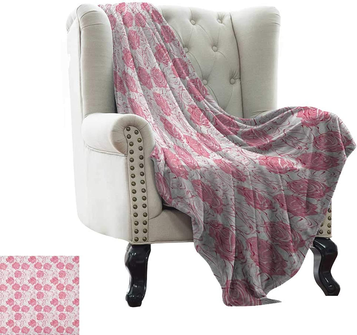 Warmfamily pink,Weave Pattern Extra Long Blanket,Artistic Girlish Pattern pink Flower Silhouettes Outlines Botany Garden Meadow 60 x36 ,Super Soft and Comfortable,Suitable for Sofas,Chairs,beds