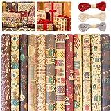 12 Hojas Papel de Regalo, Doblados Papel Para Envolver Regalos Colorido, para Cumpleaños, San Valentín, Baby Shower, Día De Fiesta, Navidad(12 Diseño, 70 x 50cm)