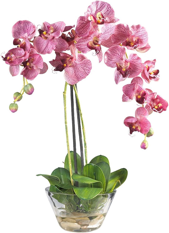 Nearly Natural 4643-PP Phalaenopsis with Glass Vase Decorative Silk Flower Arrangement, Purple