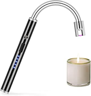 Dewliop Candle Lighter, Electric Lighter, Rechargeable Lighter with LED Power Display, 360° Bendable Neck USB Lighter for Light Gas, Mosquito Incense, Candles, Outdoor Charcoal, Barbecue, etc.