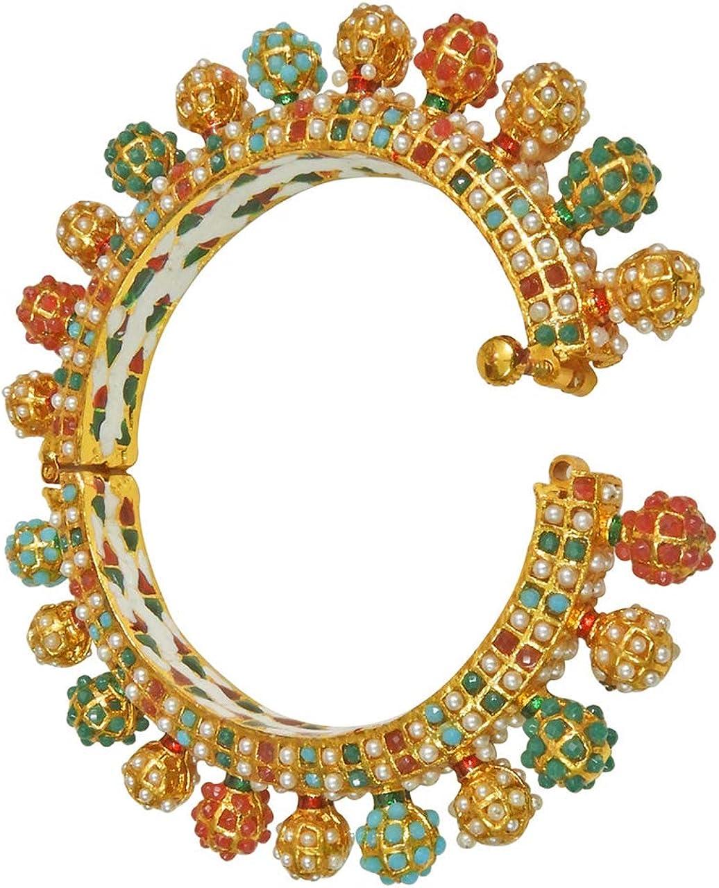 Babosa Sakhi Indian Navratan Traditional Golden Bangle Multicolor Screw Open Kara Bracelet