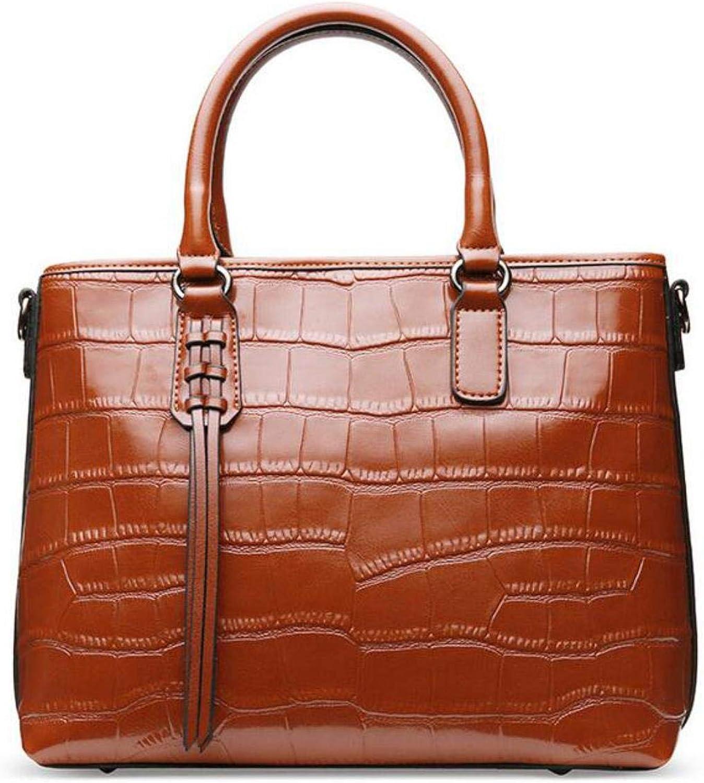 Genuine Leather Stone Pattern Women Tassel Tote Crossbody Bag