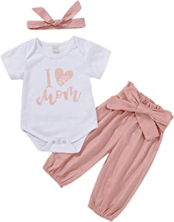 Infant Baby Girl Clothes Short Sleeve Romper + Floral Long Pants + Headband 3PCS Summer Outfits for Toddler Girl