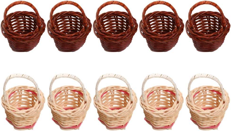 NUOBESTY 10 cestas de sauce en miniatura con asa, mini cestas de juego para decoración de casa de muñecas