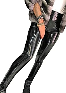 QianQian-AU Women's Sexy High Rise Faux-Leather Skinny Stretchy Clubwear Leggings Pants