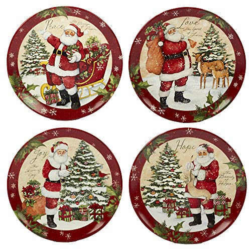 Certified International Holiday Wishes 11' Dinner Plate, Set of 4 Assorted Designs, Mulicolored