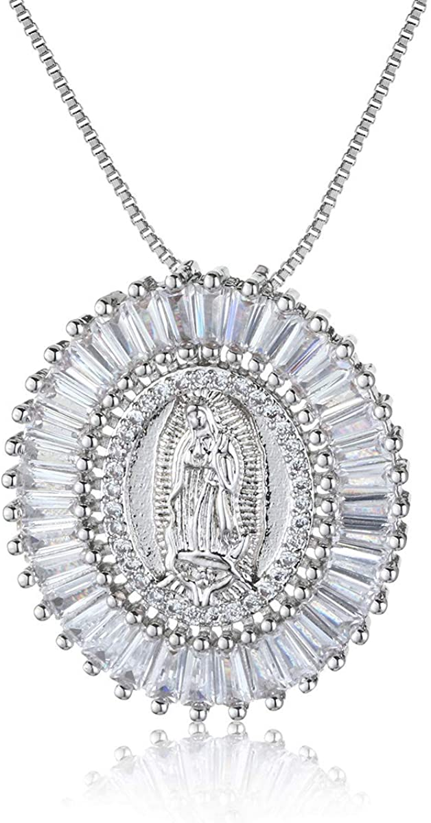 unisex COTTVOTT Charms Virgin Mary Pendant Statement Max 87% OFF Swe Necklace Women