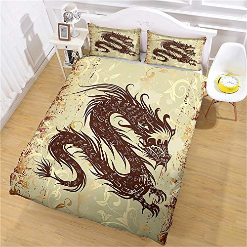 QNZOR Duvet Cover Sets Pillowcases Bedding Double Long Print Polyester Breathable 2 pillowcases with Zipper Boys Girls Home Decoration 78.74 x 78.74 inch