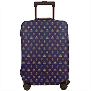 Travel Luggage Cover,Nordic Winter Of Lively Colored Christmas Trees Ethnic Graphic Suitcase Protector