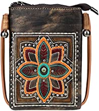 Small Crossbody Purse For Women With Cell Phone Holder Faux Leather Shoulder Bag Back Pocket for Phone LightWeight Passport MWUSA-PH02-218 BR