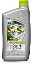 HAVOLINE 223517482 Pro DS Full Synthetic Motor Oil 0W16 Dexos, 1 Quart Case of 6, 12 Pack