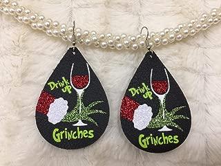grinch leather earrings
