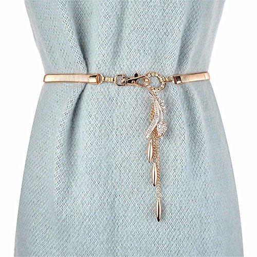 SAIBANGZI Chaîne de taille à ressort en métal avec pendentif en diamant pour femme Accessoires jupe élastique Chaîne de taille Chandail Doré Rose 75 cm