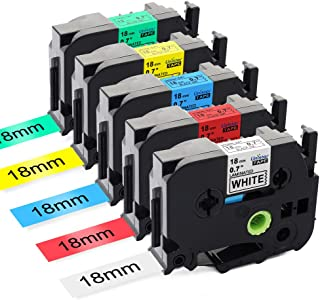 Unistar Compatible P Touch Tape 18mm Label Maker Tape Combo Set Laminated (Black on White/Red/Blue/Yellow/Green) TZ TZe 241 TZe441 TZe541 TZe641 TZe741Replacement for Brother Label Maker PTD400 PTD600
