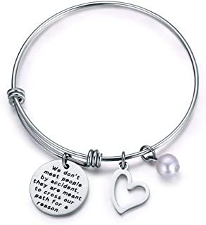 Jvvsci We Don't Meet People by Accident They are Meant to Cross Our Path for A Reason Bracelet Coworker Leaving Gift Retirement Jewelry Going Away Thank You Bangle Bracelet