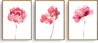 Hepix Canvas Wall Art, Abstract Watercolor Pink Flowers Canvas Print for Home Decor with 3 Panels, 13x17inch (Framed)