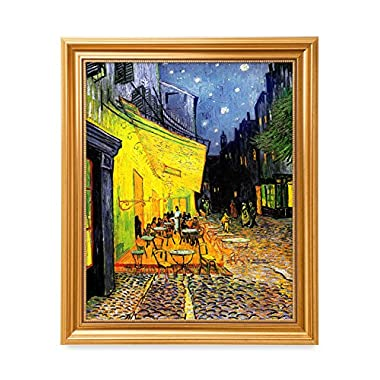 DecorArts - Cafe Terrace At Night, Vincent Van Gogh Classic Art. Giclee Print & Framed Art for Wall Decor. Framed size: 24x20