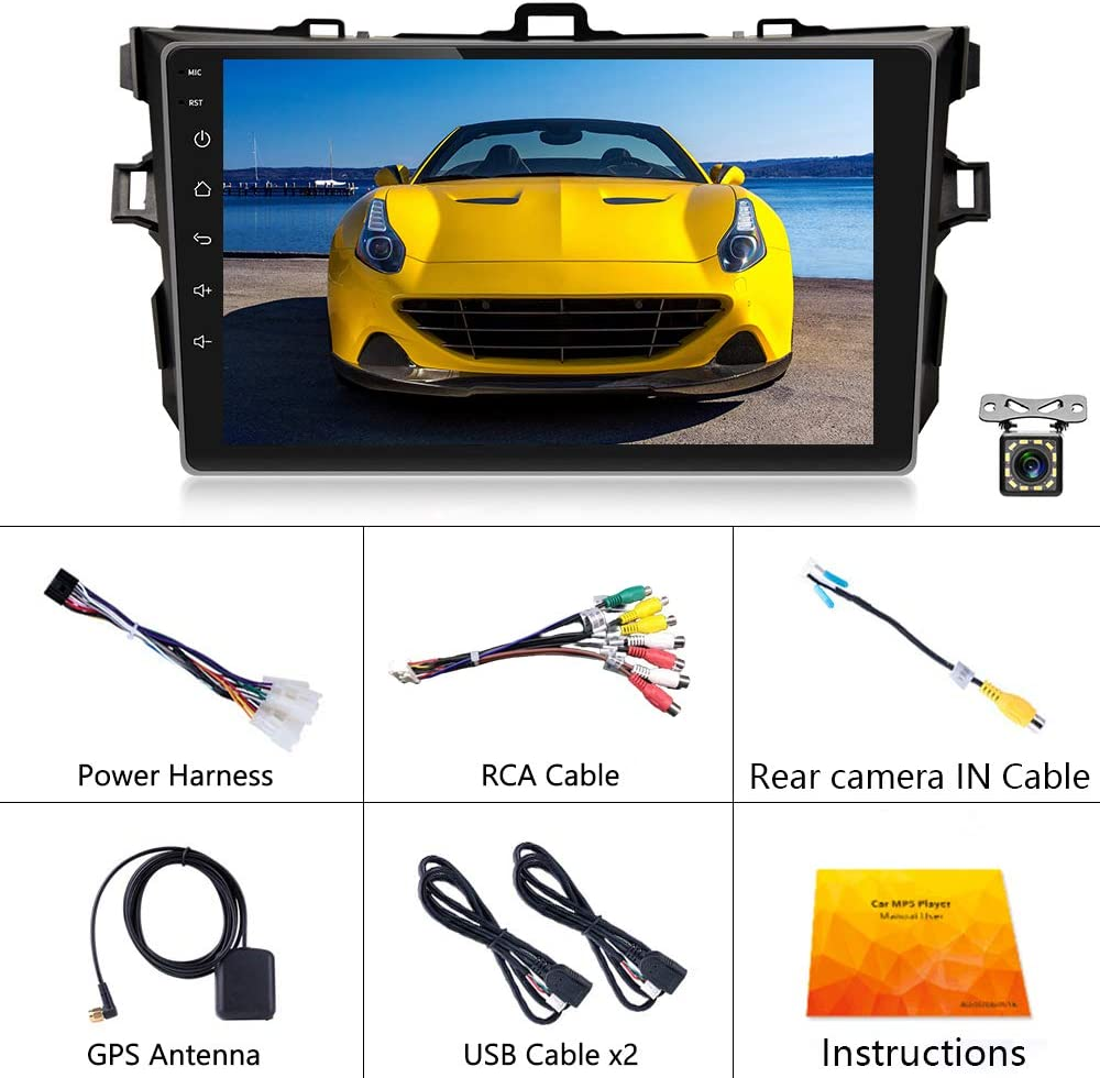 Backup Camera UNITOPSCI Car Stereo Android 10.1 Navigation Stereo for Toyota Corolla 2009-2012 Double Din Car Radio 9 HD Touch Screen 2G 32G GPS Navigation WiFi Bluetooth FM Radio USB Mirror Link