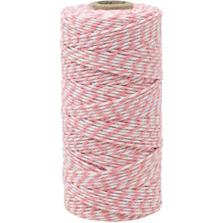Decorative Bakers Twine for DIY Crafts and Gift Wrapping 2-Pack, 660-feet Just Artifacts ECO Bakers Twine 110yd 12Ply Striped Light Pink