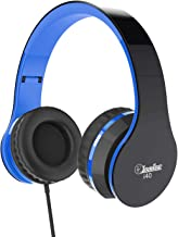 Elecder i40 Headphones with Microphone Foldable Lightweight Adjustable Wired On Ear Headsets with 3.5mm Jack for iPad Cellphones Laptop Computer Smartphones MP3/4 Kindle Airplane School (Black/Blue)