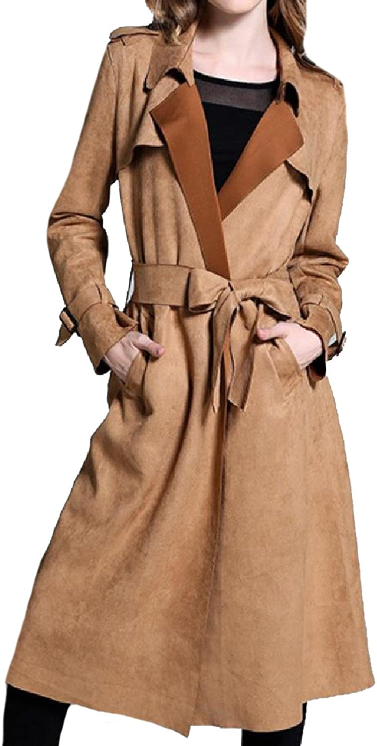 CoolredWomen Oversized Strappy MidLength Suede Fabric Trench Coat