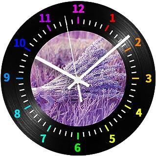 GYJCD Reloj De Registro Decorativo De Vinilo Negro Lavanda Silencioso Colorido Números Árabes Reloj De Pared Digital De Di...