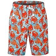 Men's Swimming Trunks with Pockets Beach Swimwear Quick Dry Elastic Waist Board Shorts (S, HW016 no mesh Lining-Crab)