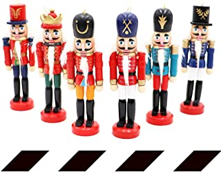 OurWarm Nutcrackers Ornaments 6Pcs Christmas Ornaments, Nutcracker Figures Wood Nut Cracker Ornament Hanging Decoration for Christmas Decor Tree Decorations Kids Gift