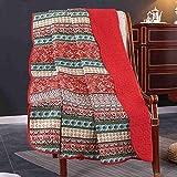 Unimall 4526629 Vintage Tagesdecke Baumwolle Steppdecke für Erwachsenen & Kinder Patchwork Sofaüberwurf 150 x 200 cm, Rot