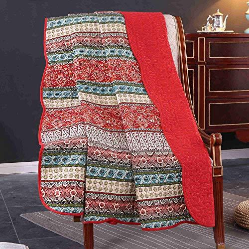 Unimall 4526629 Vintage Tagesdecke Baumwolle Steppdecke für Erwachsenen und Kinder Patchwork Sofaüberwurf 150 x 200 cm, Rot