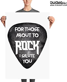 for Those About to Rock! | ACDC Enhanced Matte Paper Poster | Wall Decor | Rock Music Artwork | Guitar Pick | Watercolor Painting | ZuskaArt (24x36)