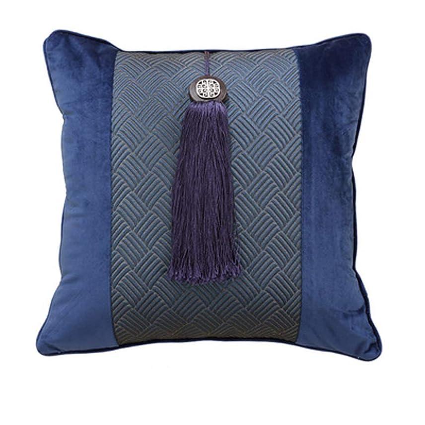 作曲するフィヨルド非難枕ソファクッション青い枕ヴィラシミュレーションシルククラシック腰椎背もたれ HBJP (Color : B)