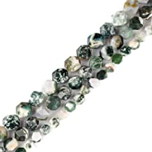 6mm 8mm 10mm 12mm AAA Grade Faceted Beads Natural Stone Beads DIY Precious Gemstone Loose Strand Beads for Jewelry Making Perles Semi (Moss Agate, 10MM)