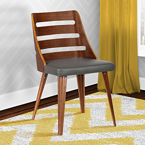 Armen Living Storm Dining Chair in Grey Faux Leather and Walnut Wood Finish
