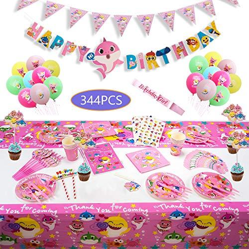 Baby Girls Pink Shark Party Tableware Set