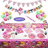 Cute 344pcs Baby Girls Pink Shark Party Tableware Kit Supplies serve 16 Guests-Baby Girls Pink Shark Birthday Decorations - Disposable Tableware includes 16 Cake Topper Wrapper 20 Balloons 16 Gift Bag 32 Pennant Plates 16 Spoon, 16 Cups, 16 Napkins, 16 St