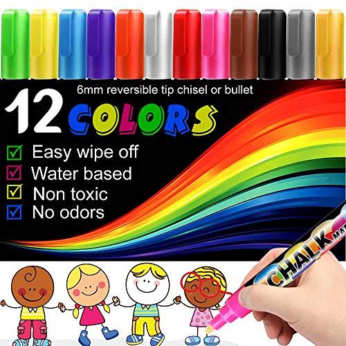 12PCS Chalk Markers for Blackboards - Liquid Chalkboard Chalk Pens Non Toxic, Dustless for Blackboard, Window, Glass, Bistro, 6mm Reversible Chisel or Fine Tip (12)