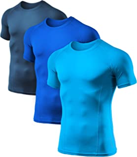 ATHLIO Men's (Pack of 1 or 3) Cool Dry Compression Short Sleeve Sports Baselayer T-Shirts Tops