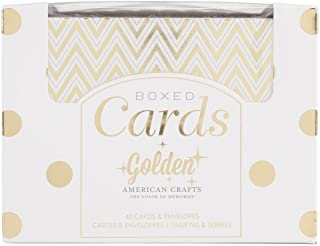 American Crafts 369622 A2 Cards and Envelopes (4.25-Inch X5.5-Inch) 40/Pkg-Golden-Gold Foil