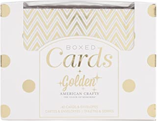 """A2 Card & Envelope Golden Box Set (4.24""""X5.5"""") with Shiny Gold Foil Treatments by American Crafts, 40 Cards And Envelopes Per Box. Perfect for Everyday, Holiday, Special Occasion Card Giving or Thank You Notes"""